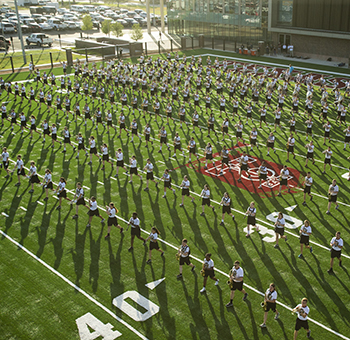 Aggie Band Practice on Dunlap Drill Field