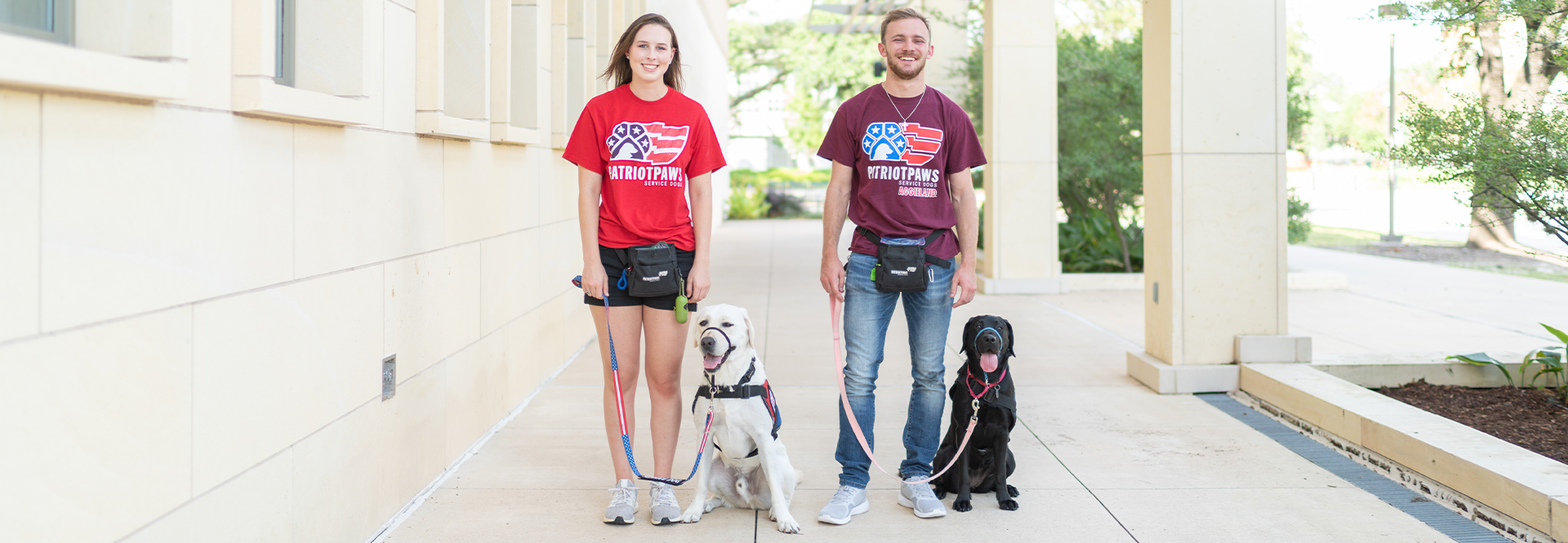 Student volunteers in Patriot Paws of Aggieland train service dogs for veterans across the country.